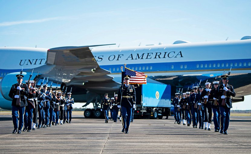 Joint Forces Honor Guard members participate in a departure ceremony for former President George H.W. Bush at Ellington Field Joint Reserve Base in Houston, Dec. 3, 2018. Nearly 4,000 military and civilian personnel from all branches of the U.S. armed forces, including Reserve and National Guard components, provided ceremonial support during the state funeral for the 41st president of the United States. Air Force photo by Tech. Sgt. Andrew Lee