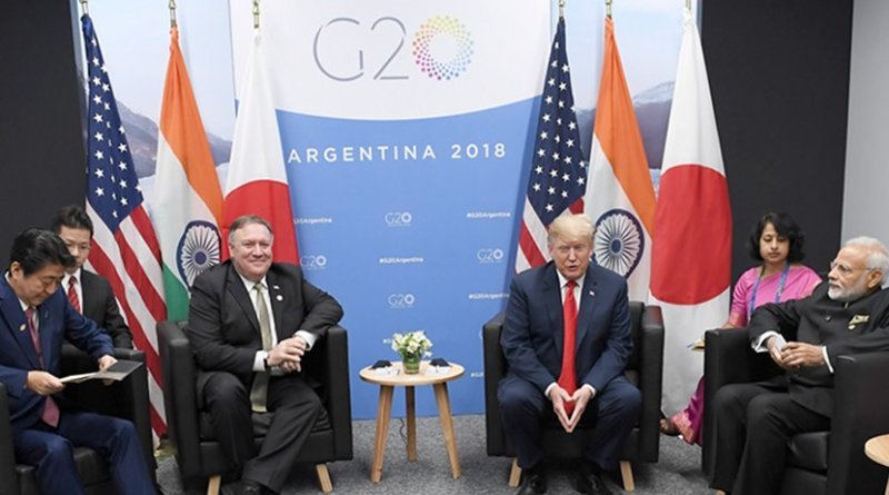 India's Prime Minister, Shri Narendra Modi, the President of United States of America (USA), Mr. Donald Trump and the Prime Minister of Japan, Mr. Shinzo Abe hold first ever trilateral meeting, on the sidelines of the G-20 Summit, in Buenos Aires, Argentina. Photo Credit: India PM Office