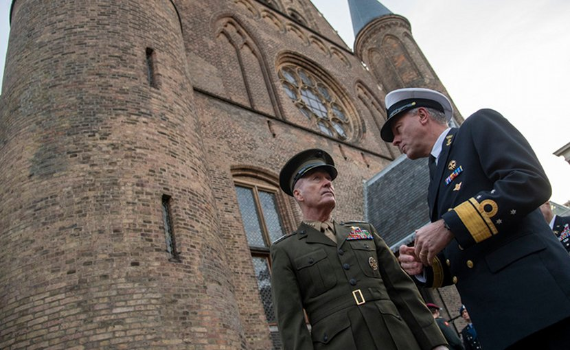 Marine Corps Gen. Joe Dunford, chairman of the Joint Chiefs of Staff, speaks with his Dutch counterpart, Navy Adm. Rob Bauer, the Netherlands' chief of defense, at the Binnenhof in The Hague, Netherlands, Jan. 18, 2019. DOD photo by Navy Petty Officer 1st Class Dominique A. Pineiro
