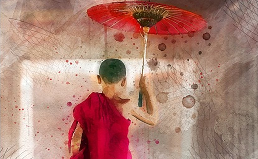 asia umbrella art painting