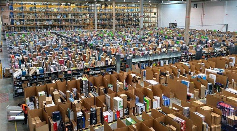 File photo of an Amazon warehouse. Photo Credit: Álvaro Ibáñez, Wikipedia Commons.