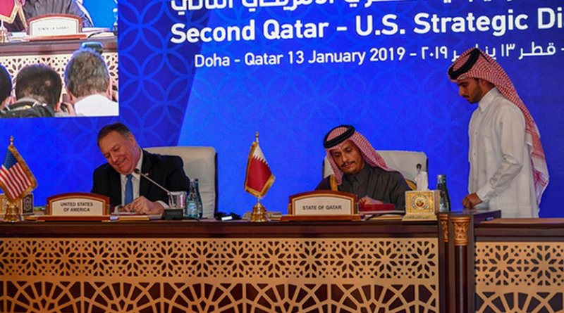 U.S. Secretary of State Michael R. Pompeo participates in a Memorandum of Understanding and Statement of Intent signing ceremony, at the U.S.-Qatar Strategic Dialogue, in Doha, Qatar, January 13, 2019. Photo Credit: State Department photo