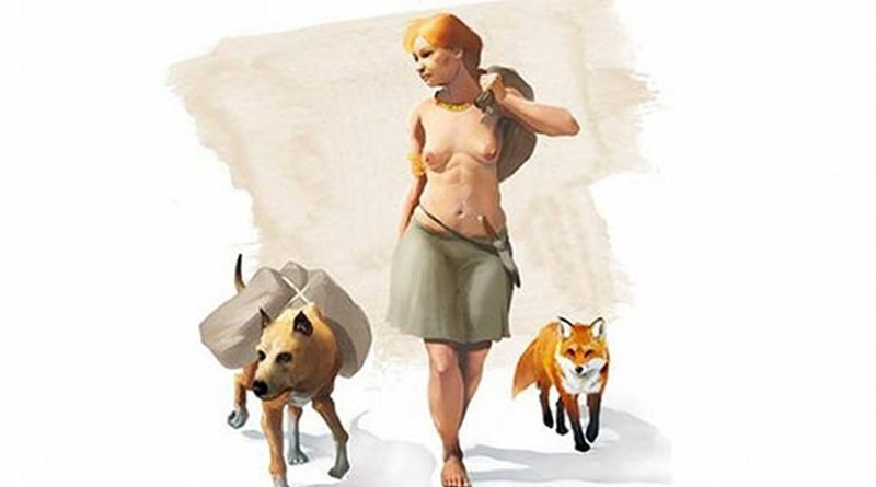 Artistic representation of a woman of the Bronze Age accompanied by a dog and a fox. Credit J. A. Peñas
