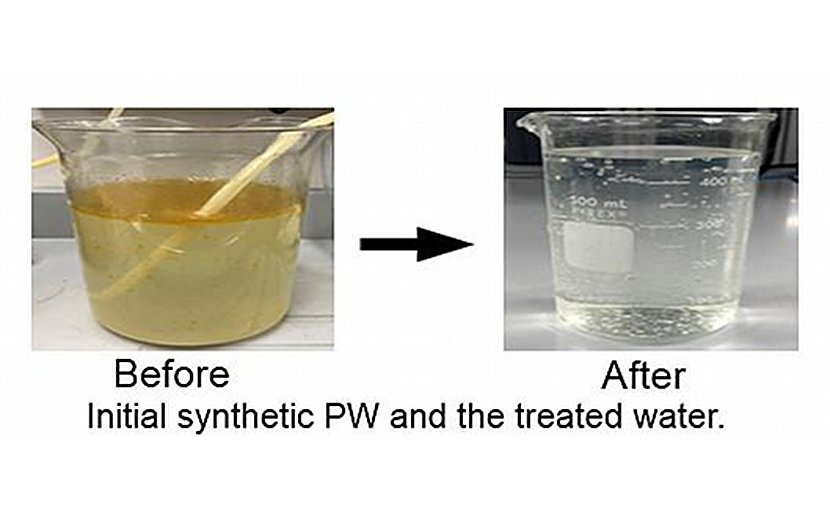 A new Purdue University process uses activated charcoal foam and subjects it to solar light to produce heat and purify produced water. Credit Purdue University/Ashreet Mishra