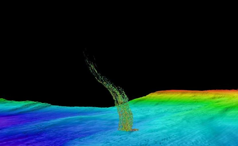 Sonar image of bubbles rising from the seafloor off Washington's coast. This is from a 2014 survey in deeper water: The base of the column is 1/3 of a mile (515 meters) deep and the top of the plume is at 1/10 of a mile (180 meters) depth. Credit Brendan Philip /University of Washington