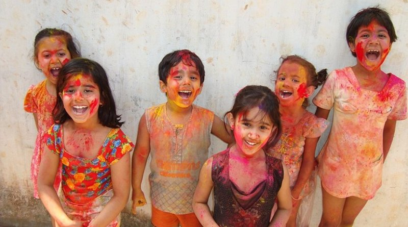Indian children celebrating Hindu festival of Holi