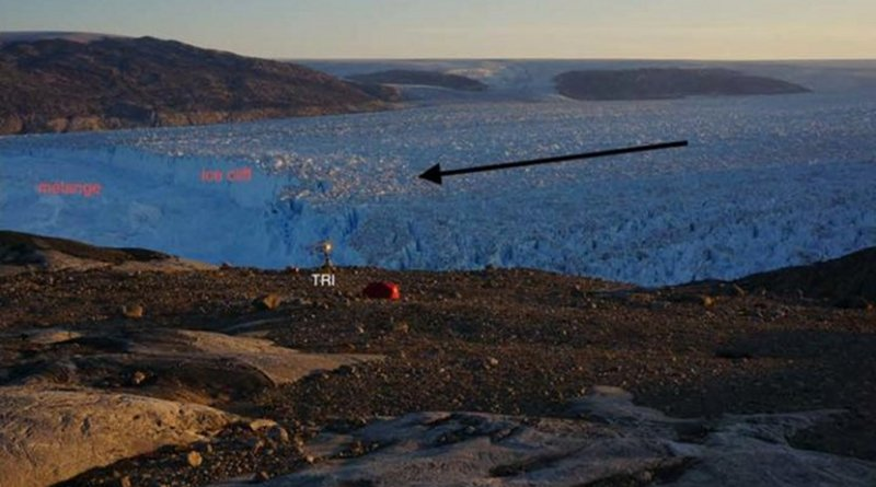 The team monitored a slump-calving event at Helheim glacier, east Greenland. The black arrow shows ice flow direction. The ice cliff and slumped ice are labeled in red. Credit Credit Byron Parizek and colleagues