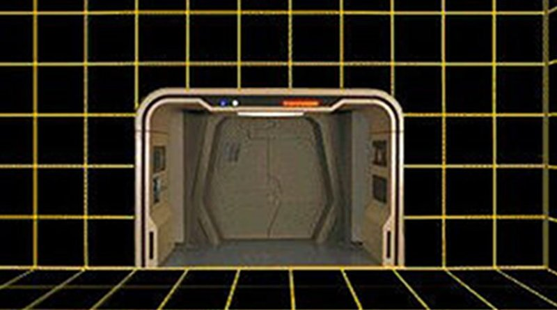 A vacant holodeck on the Enterprise-D; the arch and exit are prominent. Source: Wikipedia Commons