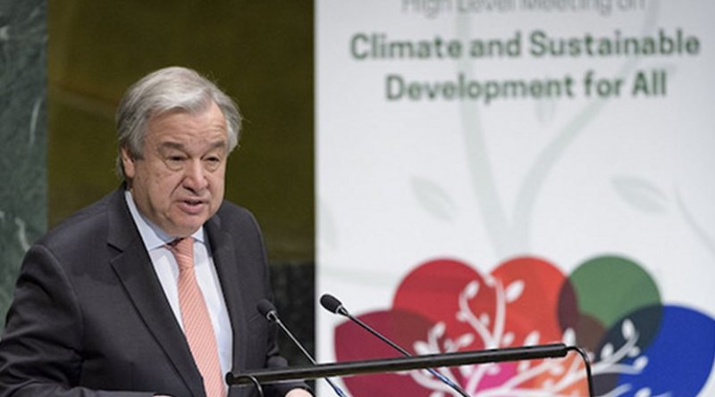 UN Chief addressing High-level meeting on Climate and Sustainable Development for All on March 28. UN Photo/Manuel Elias