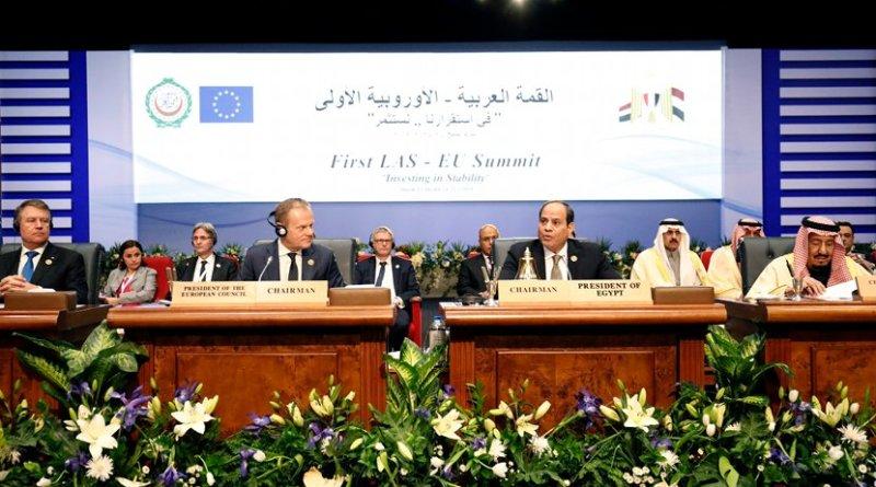 From left to right: Mr Donald TUSK, President of the European Council; Mr Abdel Fattah AL-SISI, President of Egypt; HRH King Salman, King of Saudi Arabia at First Arab League-EU summit. Photo Credit: European Union