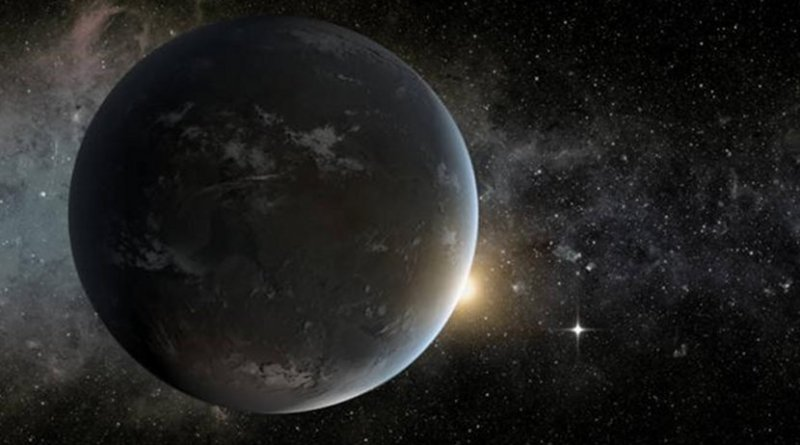 The artist's concept depicts NASA's Kepler mission's smallest habitable zone planet. Seen in the foreground is Kepler-62f, a super-Earth-size planet in the habitable zone of a star smaller and cooler than the sun, located about 1,200 light-years from Earth in the constellation Lyra. Kepler-62f orbits it's host star every 267 days and is roughly 40 percent larger than Earth in size. The size of Kepler-62f is known, but its mass and composition are not. However, based on previous exoplanet discoveries of similar size that are rocky, scientists are able to determine its mass by association. Much like our solar system, Kepler-62 is home to two habitable zone worlds. The small shining object seen to the right of Kepler-62f is Kepler-62e. Orbiting on the inner edge of the habitable zone, Kepler-62e is roughly 60 percent larger than Earth. Credit NASA Ames/JPL-Caltech/Tim Pyle