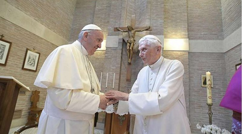 Pope Francis and Pope Emeritus Benedict XVI on June 28, 2017. Credit: Vatican Media and CNA.