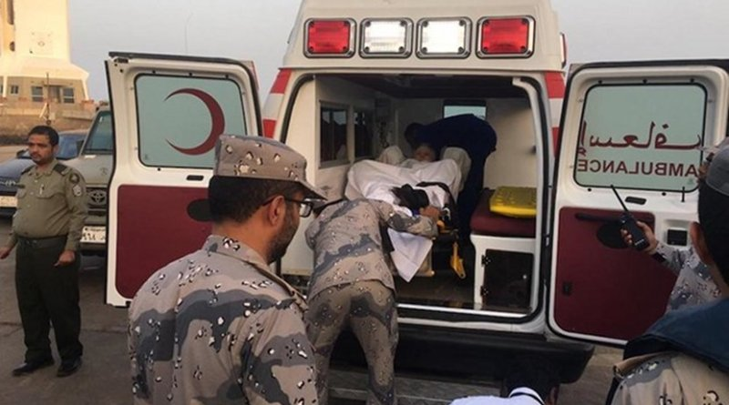 Saudi border guards rescued an American tourist after he became dangerously ill on board a cruise ship in the Red Sea. (Supplied via Arab News)