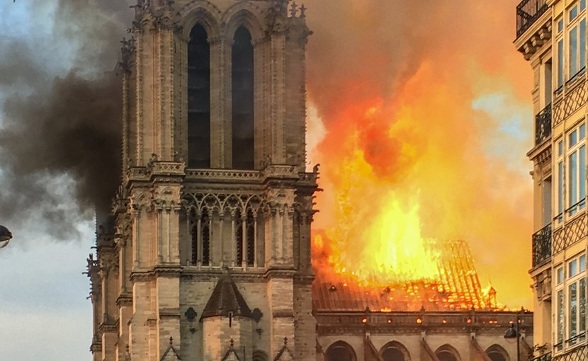 Notre Dame Cathedral on fire in Paris, France. Photo Credit: LeLaisserPasserA38, Wikimedia Commons