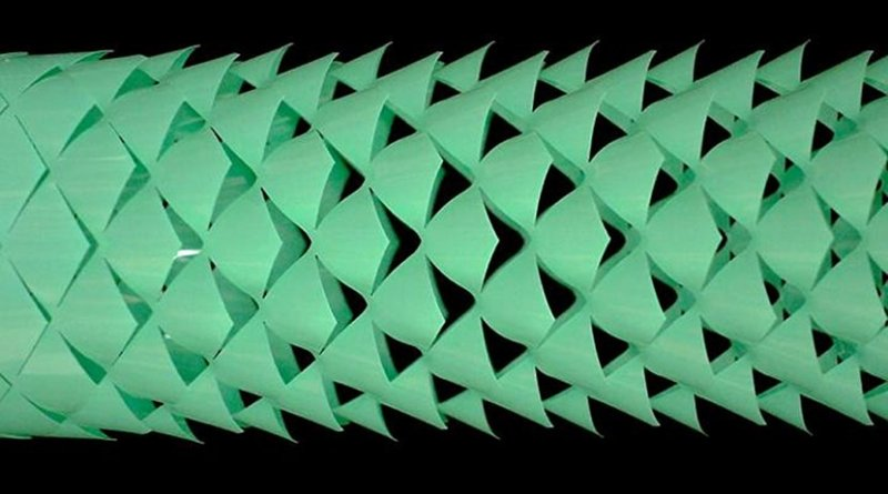 "The robot is made using kirigami -- a Japanese paper craft that relies on cuts to change the properties of a material. As the robot stretches, the kirigami surface ""pops up"" into a 3D-textured surface, which grips the ground just like snake skin. Credit Harvard SEAS"