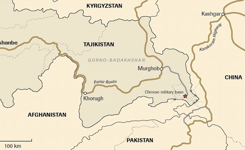 Map – China's military base on the Chinese-Afghan-Tajik frontier. Credit: Centre for Eastern Studies.