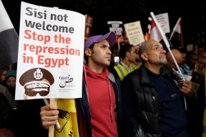 Demonstrators protest against Sisi's visit to London, November 2015. Under Sisi, the Egyptian state has used all means of communication to silence voices calling for civil society and democracy. Dissenters urging religious reform and opposing Salafist ideology have been imprisoned.