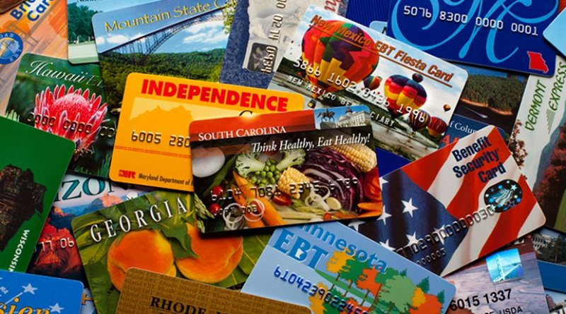 EBT cards from several states. Photo Credit: United States Department of Agriculture, Wikipedia Commons