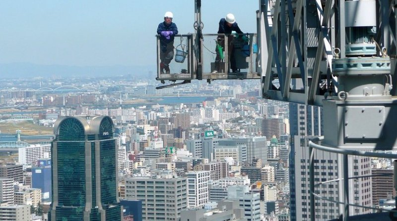 Construction workers in Osaka, Japan
