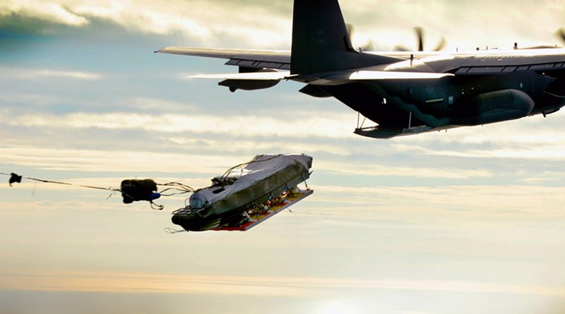 MC-130J Commando II from 9th Special Operations Squadron airdrops Maritime Craft Aerial Delivery System over Gulf of Mexico during training exercise, November 12, 2015 (U.S. Air Force/Matthew Plew)