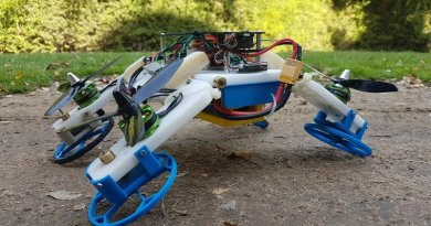 The first experimental robot drone that flies like a typical quadcopter, drives on tough terrain and squeezes into tight spaces using the same motors, has been developed by Ben-Gurion University of the Negev (BGU) researchers. The hybrid FSTAR (flying sprawl-tuned autonomous robot) will be introduced at the International Conference on Robotics and Automation 2019 in Montreal on May 21, 2019. Credit Ben-Gurion U.