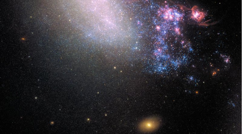 This is an image of irregular galaxy NGC 4485, captured by Hubble's Wide Field Camera 3 (WFC3). Credit NASA, ESA; acknowledgment: T. Roberts (Durham University, UK), D. Calzetti (University of Massachusetts) and the LEGUS Team, R. Tully (University of Hawaii) and R. Chandar (University of Toledo)