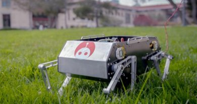 Stanford students have developed Stanford Doggo, a relatively low-cost four-legged robot that can trot, jump and flip. Credit Kurt Hickman/Stanford News Service