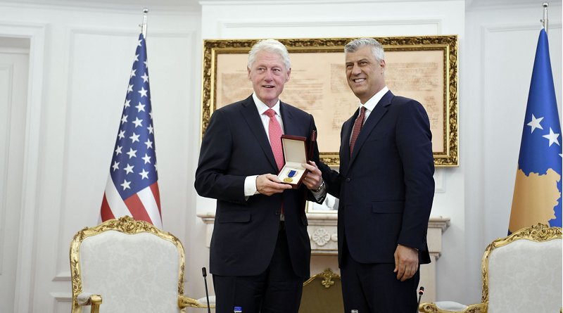 "The President of the Republic of Kosovo, Hashim Thaçi awards the 42nd President of the United States of America, Bill Clinton, with the ""Order of Freedom"". Photo Credit: Kosovo President's Office"