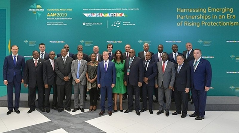 Prime Minister Dmitry Medvedev with participants of the Russia-Africa Economic Conference on 21 June 2019 in Moscow. Credit: The Russian government website.