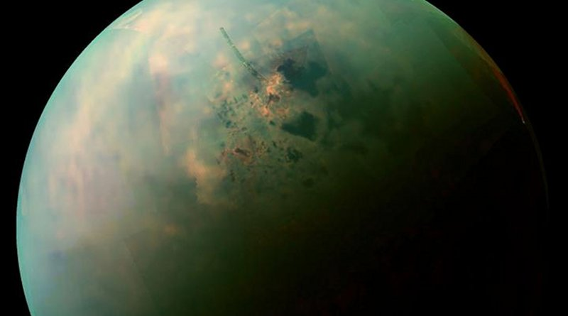 A false-color, near infrared view of Titan's northern hemisphere collected by NASA's Cassini spacecraft shows the moon's seas and lakes. Orange areas near some of them may be deposits of organic evaporite minerals left behind by receding liquid hydrocarbon. Credit NASA / JPL-Caltech / Space Science Institute