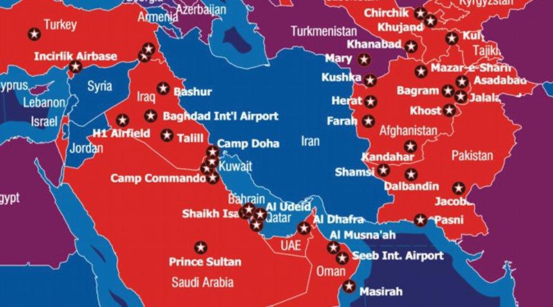 US military bases encircling Iran