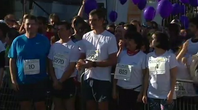 Spain's Acting Prime Minister Pedro Sánchez takes part in the 6th Fun Run against gender-based violence held on Sunday morning in Madrid. Photo Credit: Pool Moncloa/Jorge Villar