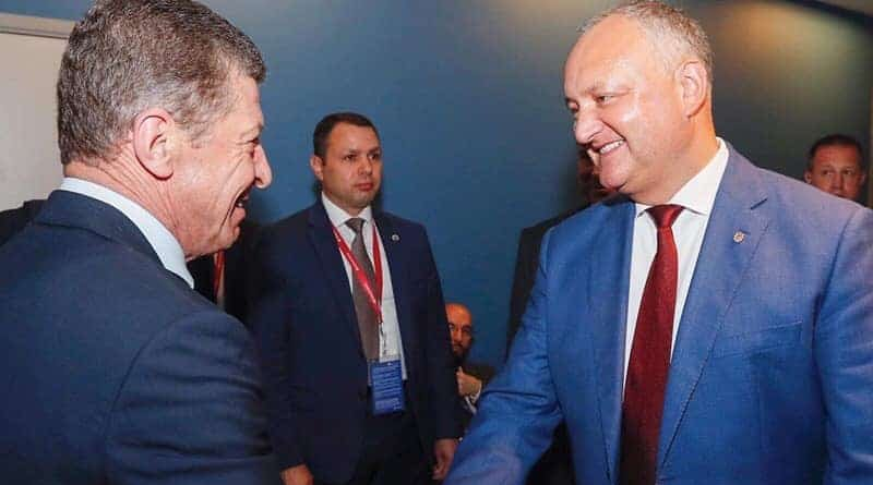 Moldova's President Igor Dodon (right) with Russian Vice-Prime Minister Dmitry Kozak in Chisinau on June 6. Photo: Facebook/Igor Dodon.
