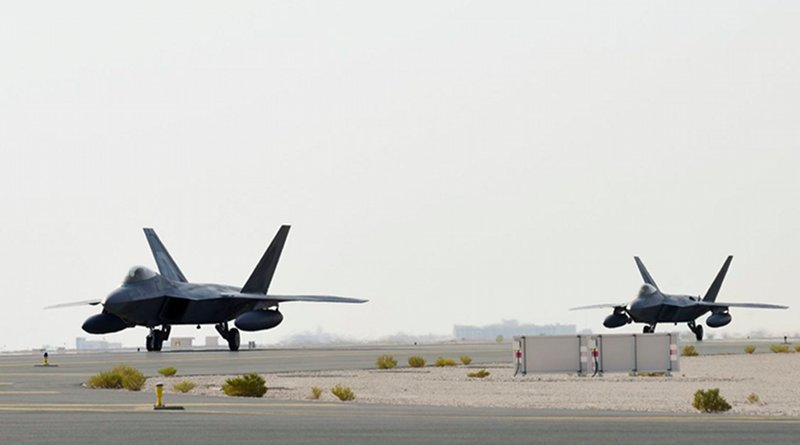 A US Air Force Air Force F-22 Raptor arrives at Al Udeid Air Base, Qatar, June 27, 2019. The aircraft are deployed to Qatar for the first time in order to defend American forces and interests in the US Central Command area of responsibility. Image: US Air Force/Tech. Sgt. Nichelle Anderson