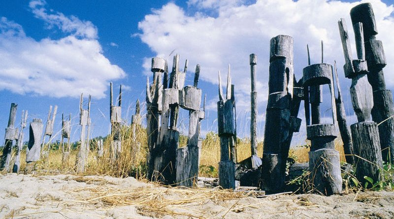 Traditional burial poles, Tiwi Islands, Australia. Photo Credit: Tourism NT, Wikipedia Commons
