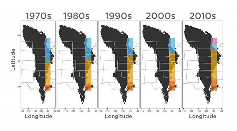 This figure, adapted from Nature Climate Change/Springer Nature, illustrates three ecosystems shifting northward in a swath of the Great Plains from the 1970s to the 2010s. Credit University of Nebraska-Lincoln
