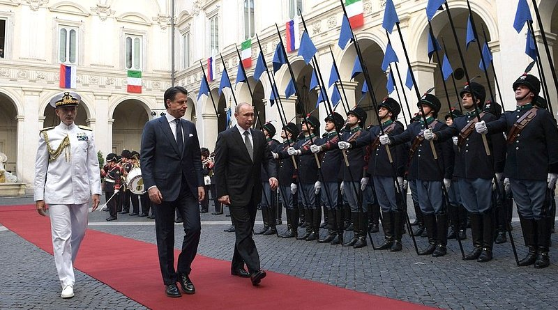 The ceremony for the official meeting of the President of Russia Vladimir Putin and Prime Minister of the Italian Republic Giuseppe Conte. Photo Credit: Kremlin.ru