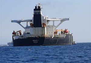 Iranian oil tanker Grace 1 flying the Panamanian flag. Photo Credit: Tasnim News Agency