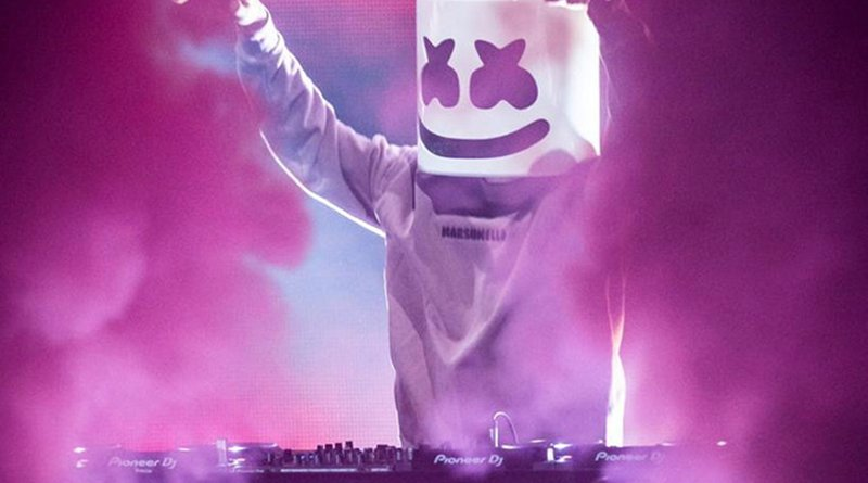 Marshmello performing at the Prince Abdullah Al-Faisal Basketball Arena at King Abdullah Sport City on Wednesday. (Supplied photo)