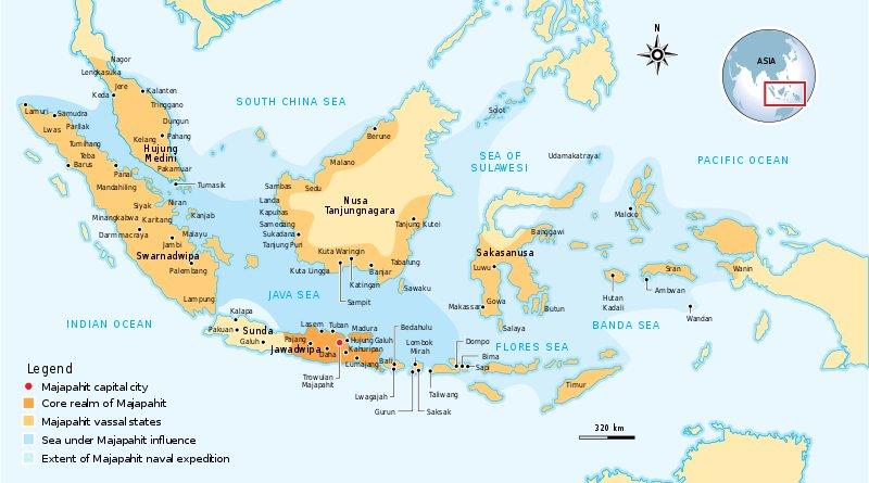 The extent of Majapahit Nusantara according to Nagarakretagama. Credit: Gunawan Kartapranata, Wikipedia Commons