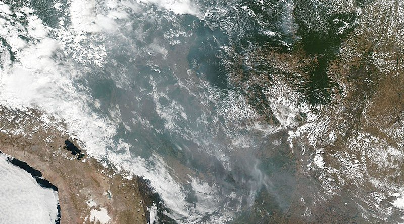 VIIRS scan of the Amazon basin on August 20, 2019, depicting several wildfires and the smoke produced. Photo Credit: NASA