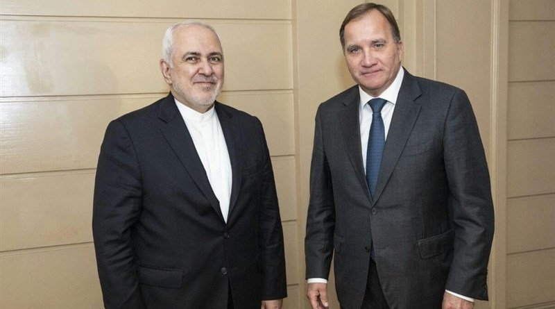 Iranian Foreign Minister Mohammad Javad Zarif and Sweden's Prime Minister Stefan Lofven. Photo Credit: Tasnim News Agency