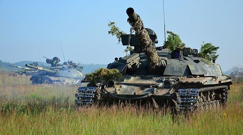 Ukrainian Army tank T-64BM during a training exercise. Photo Credit: Ministry of Defense of Ukraine, Wikipedia Commons.