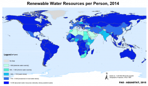 Water scarcity: As climate change depletes supplies of drinkable water in Africa and the Middle East, terrorists blame the West, posing as environmental leaders with holier-than-thou messaging (Map: Food and Agricultural Organization of the United Nations)