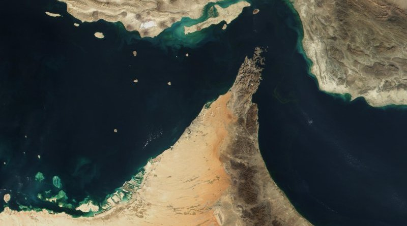 The Strait of Hormuz. Photo Credit: Jacques Descloitres, MODIS Land Rapid Response Team, NASA/GSFC, Wikimedia Commons.