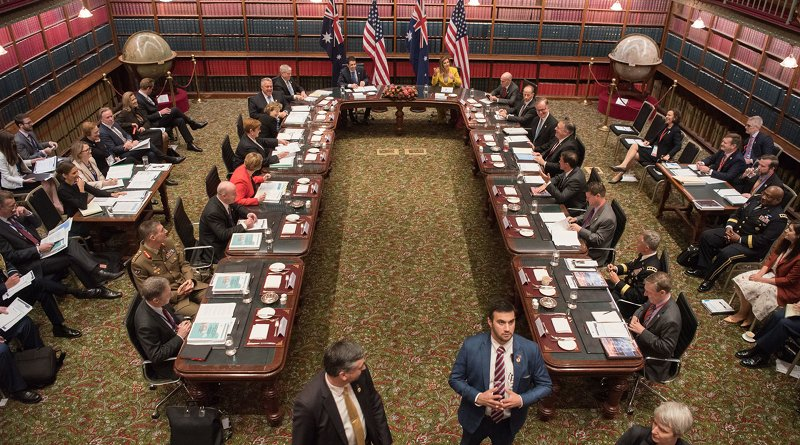 Defense Secretary Dr. Mark T. Esper and Secretary of State Mike Pompeo meet with their Australian counterparts at the Parliament of New South Wales building in Sydney, Australia, Aug. 4, 2019. Photo by Amber I. Smith, DoD