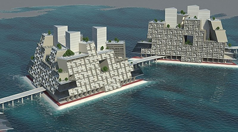 Illustration of 1960s floating city Triton project