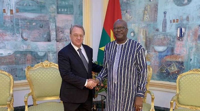 Russia's Deputy Foreign Minister Mikhail Bogdanov with Burkina Faso President Marc Kabore in Ouagadougou in July 2019.