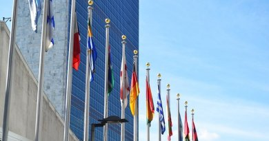 Flags in front of United Nations building in New York City