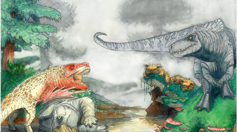 Artist's reconstruction of two rauisuchians fighting over a desiccated corpse of a mammal-relative in the Triassic of southern Africa. In the background, dinosaurs and mammal-like reptiles form other parts of the ecosystem. Credit Viktor Radermacher, owns copyright